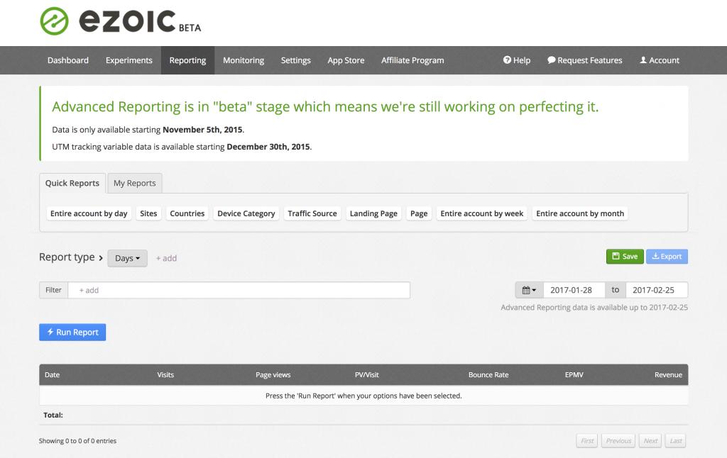 ezoic platform reporting