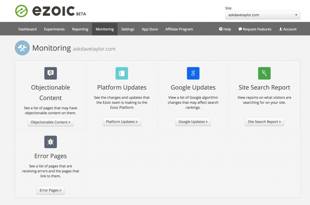 ezoic advanced reporting and monitoring