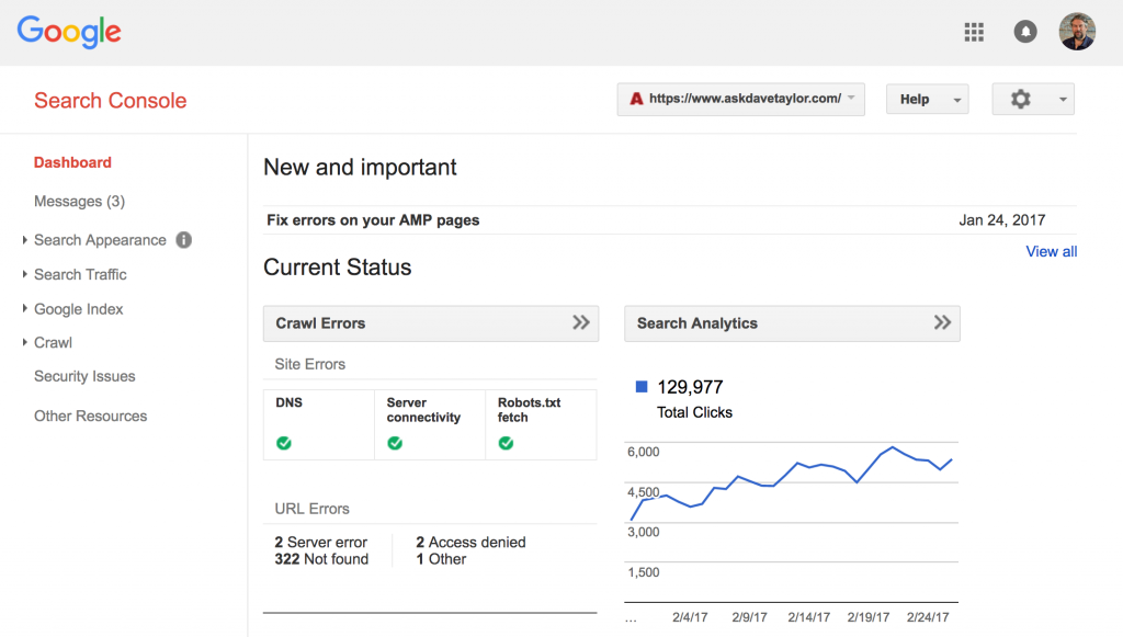 search results with search console