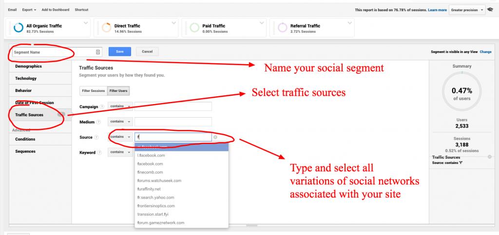 social segments in google analytics