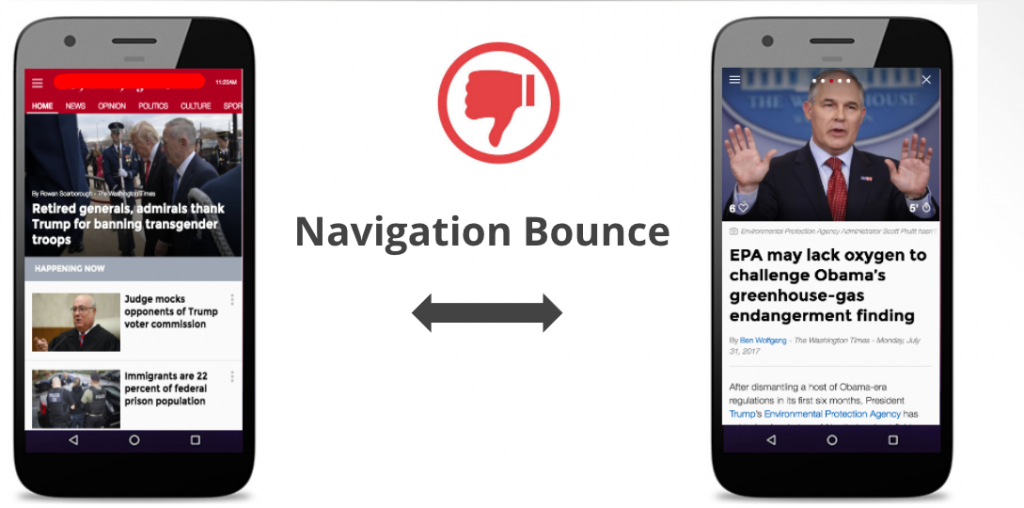 navigation bounces rates