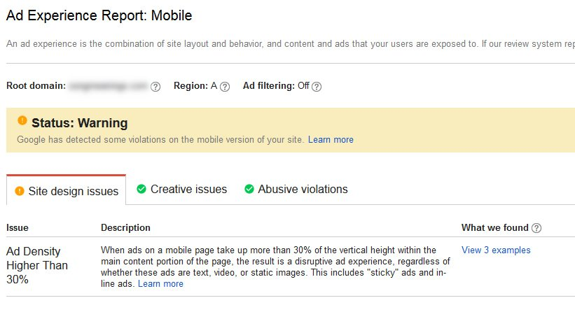 Google ad violation