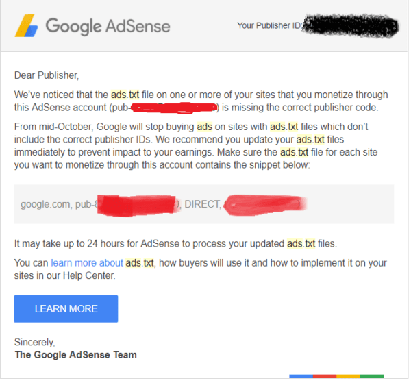 adsense ads.txt issue