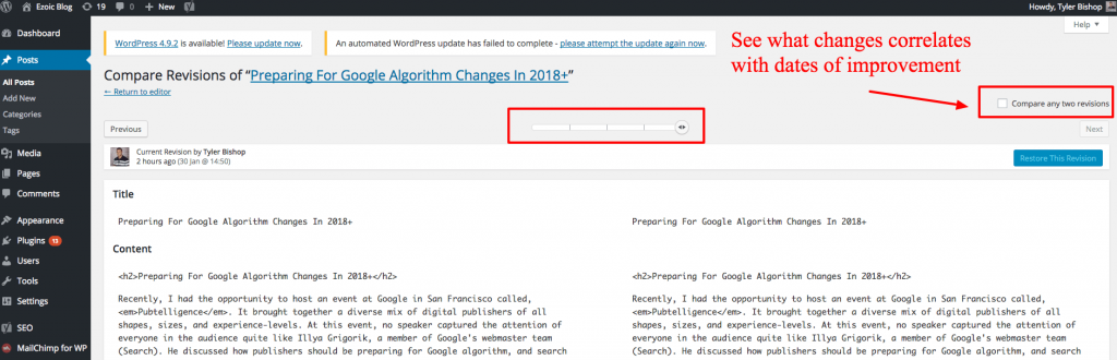 wordpress seo changes