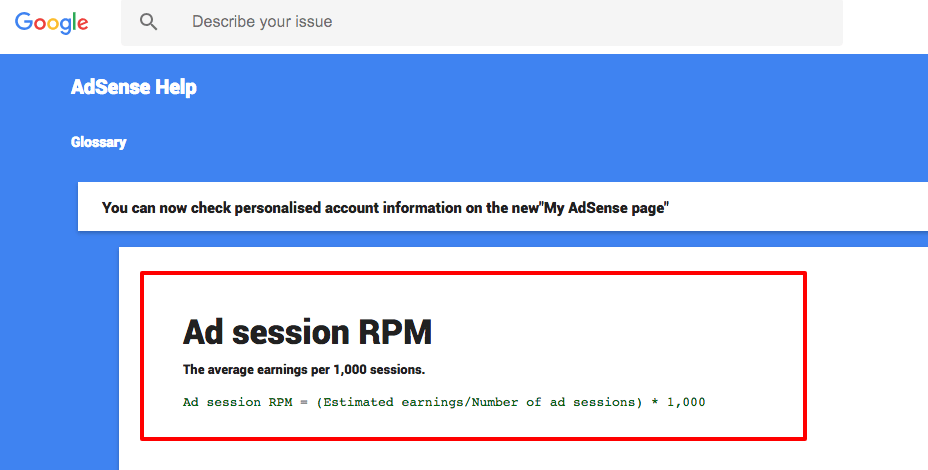 ad session revenue adsense