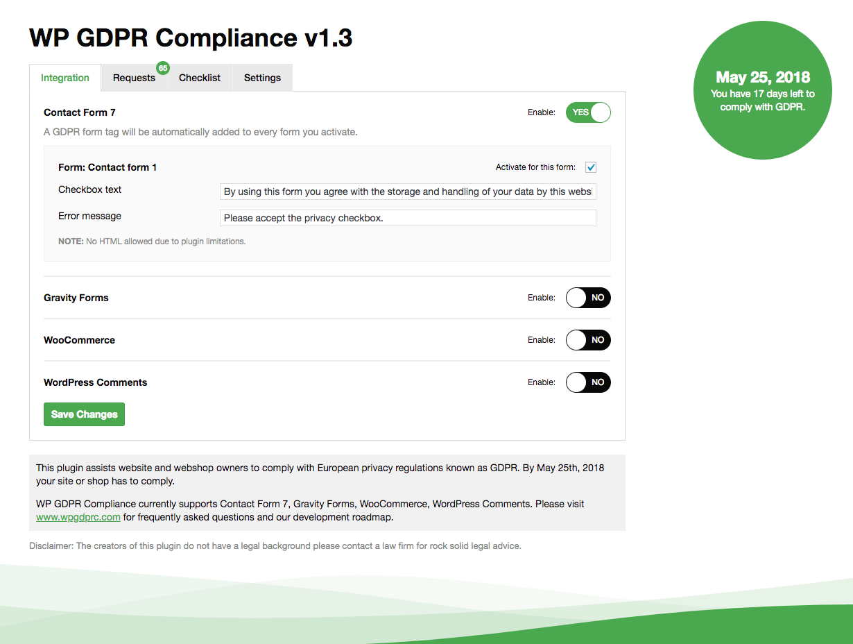 gdpr wordpress plugin