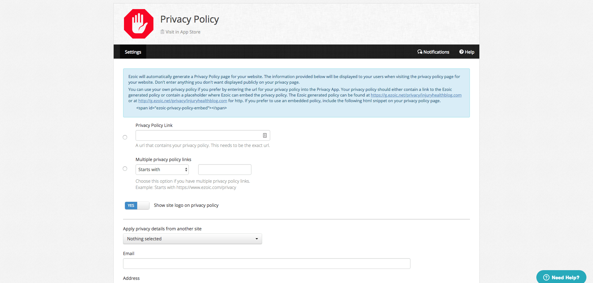 privacy policy to website