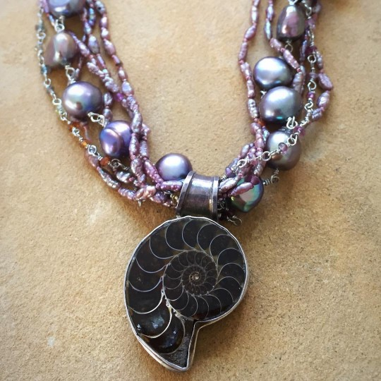 Ammonite, Pearls and Tourmalines