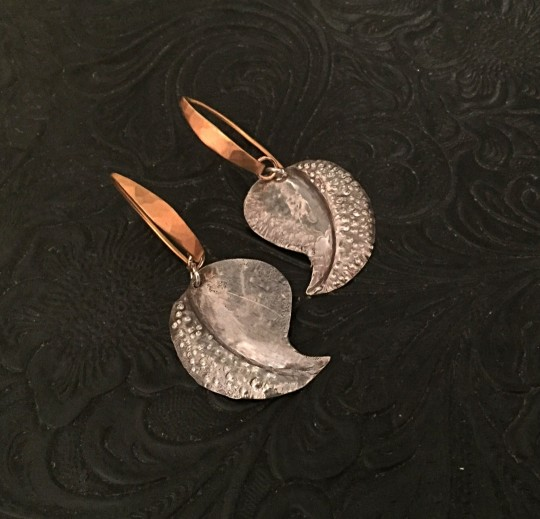 Silver textured leaves on high karat vermeil wires