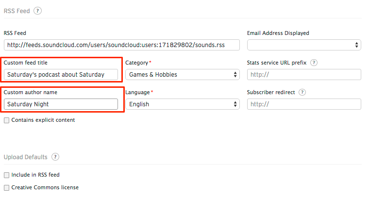 Customizing your RSS feed title and author name – SoundCloud