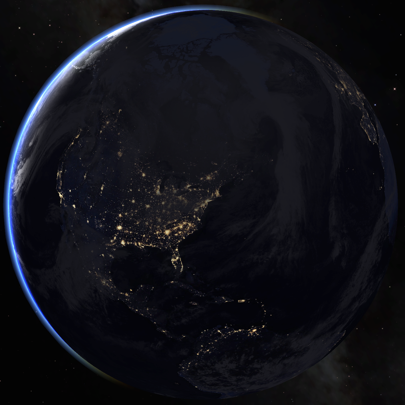 a view of earth from space, centered on Philadelphia