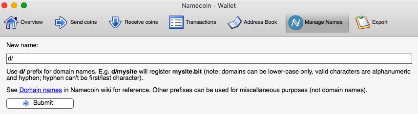 Register .bit domain