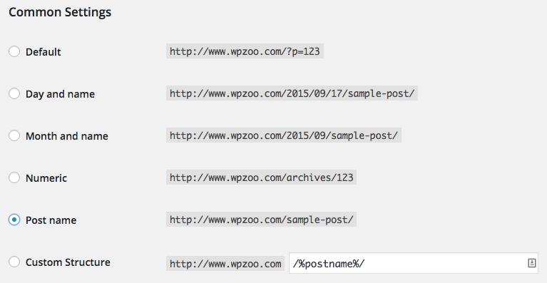 best WordPress permalink setting