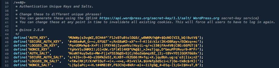 WordPress Security - SALT keys