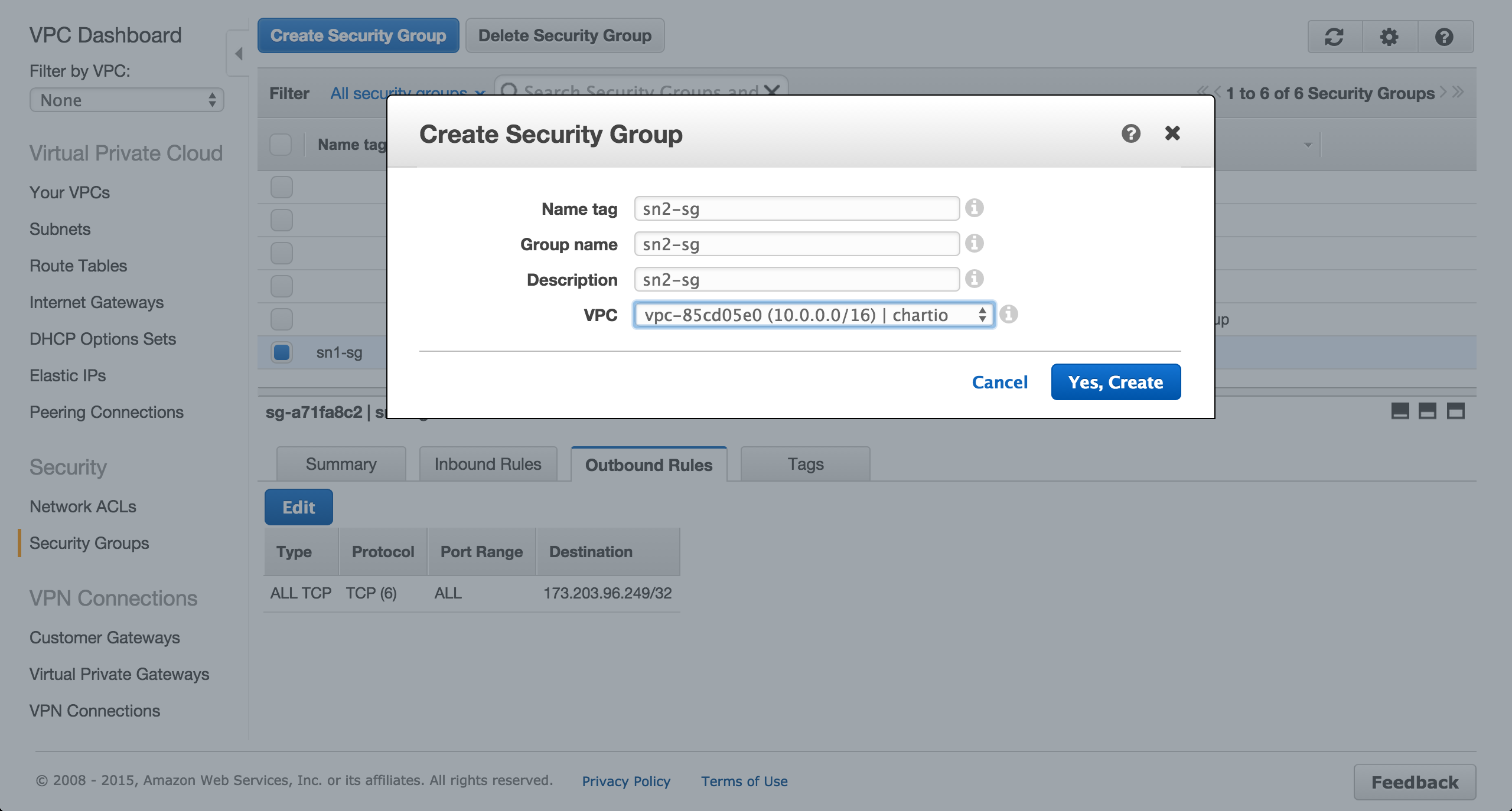 Create RDS security group.
