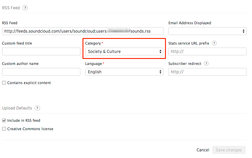 Adding or changing your RSS feed's category – SoundCloud Help Center
