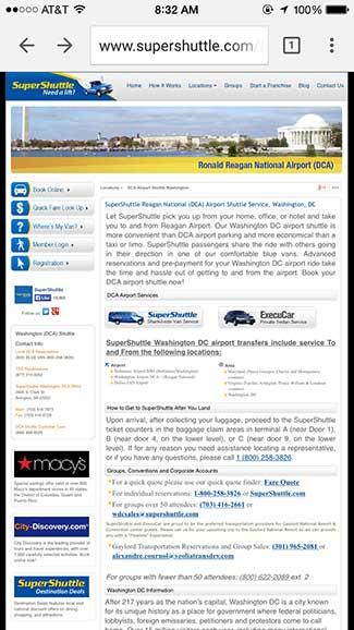 A non-mobile site in a mobile browser