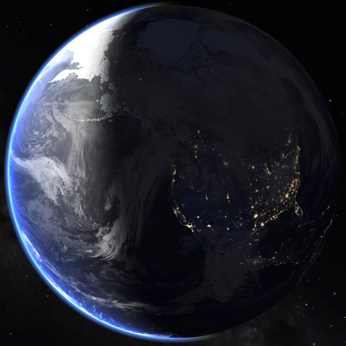 a view of earth from space, centered on Seattle