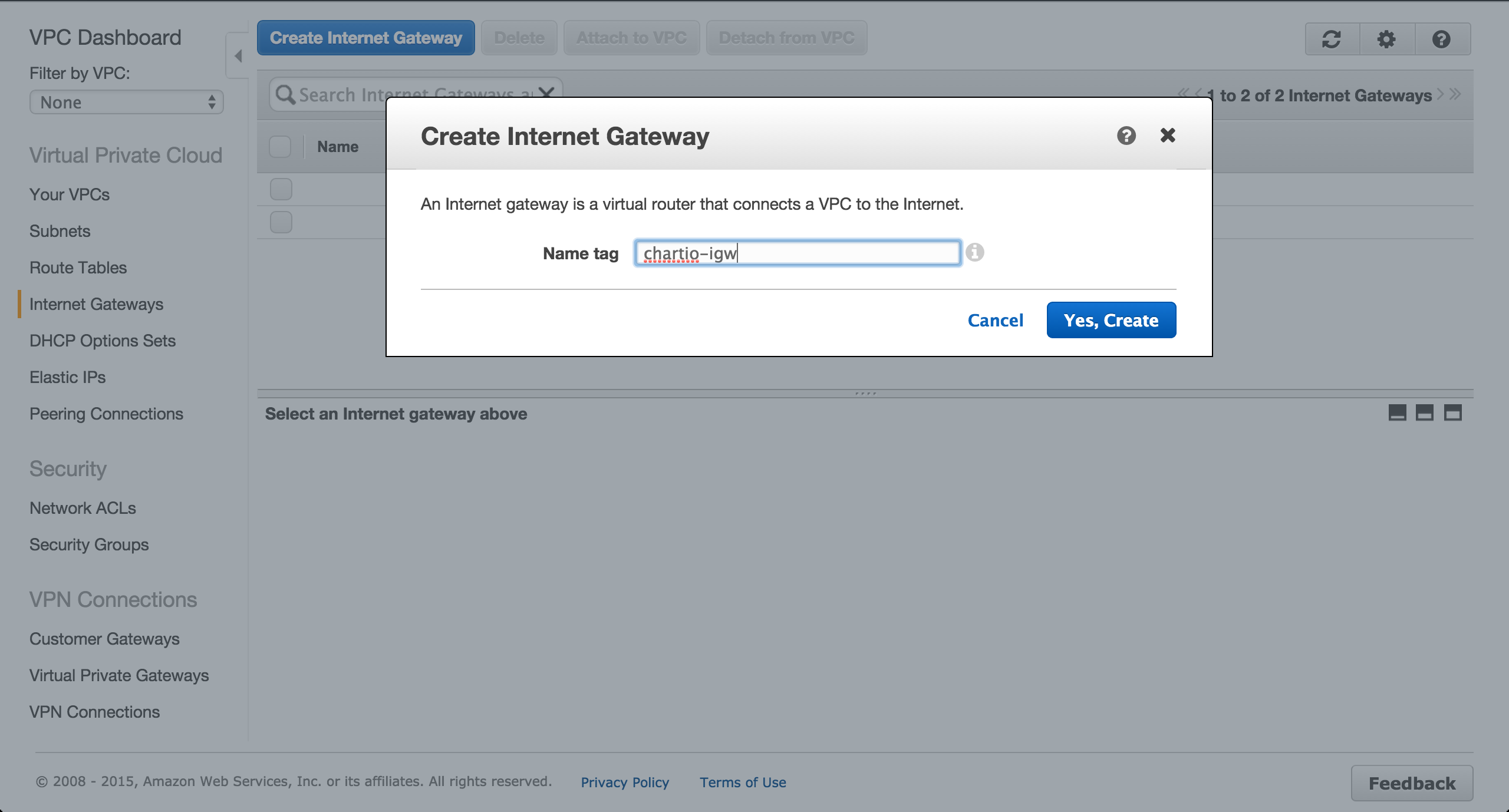 Create an Internet gateway.