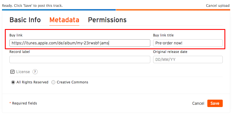 Adding a buy link and title when uploading – SoundCloud Help