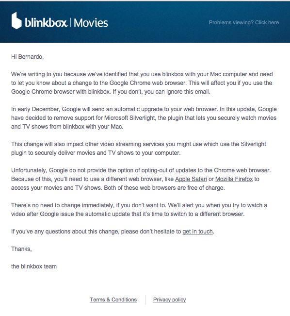blinkbox silverlight email