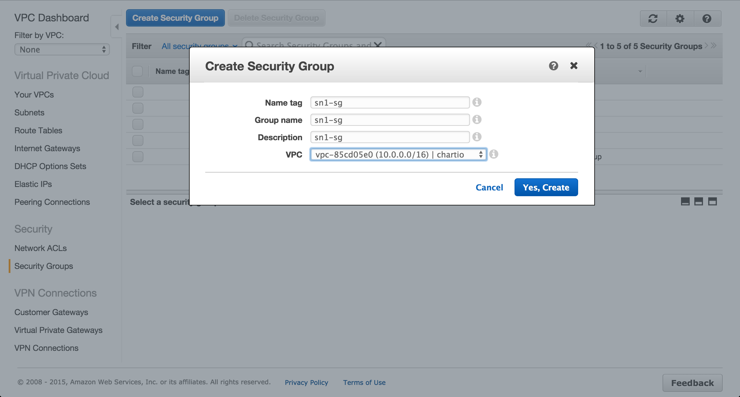 Create EC2 security group.