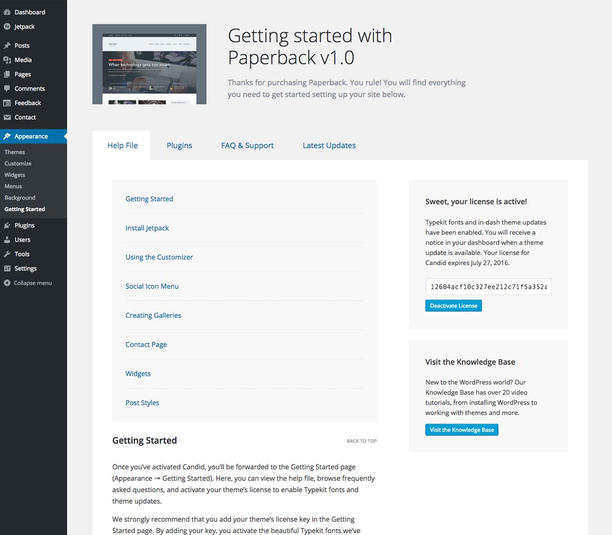 Getting Started Dashboard