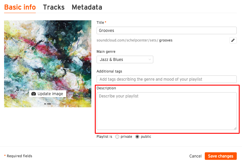 533273f9a Adding or editing your playlist description – SoundCloud Help Center