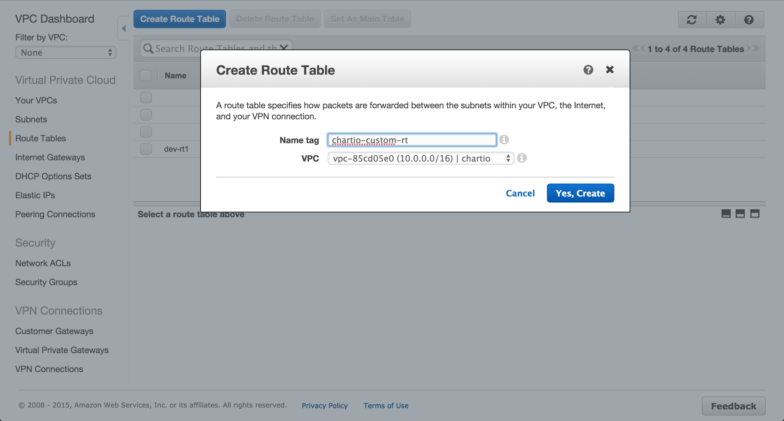 Create a custom route table.