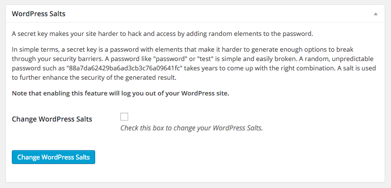 WordPress Security - SALT keys
