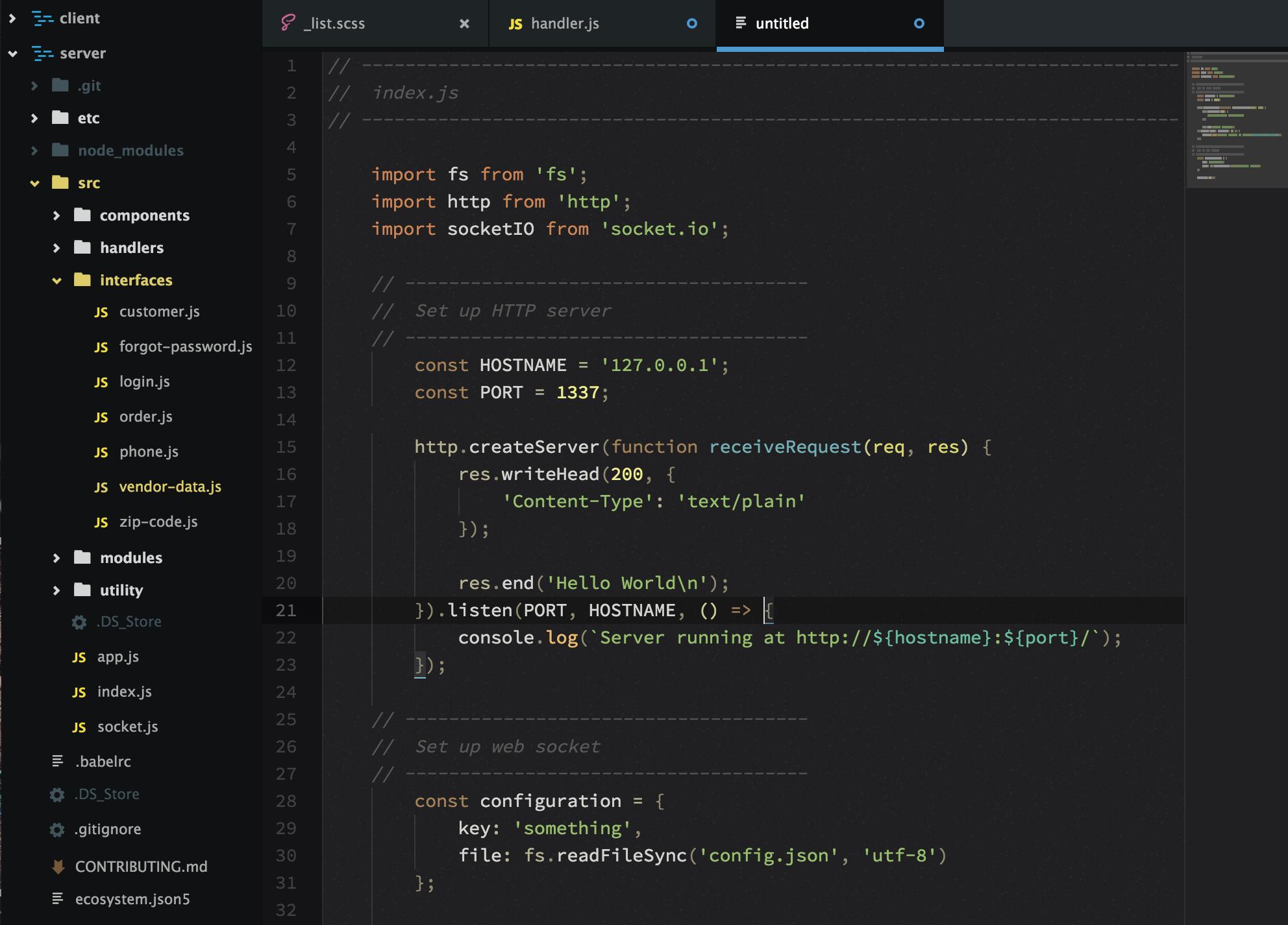 Screenshot of the No Caffeine syntax theme