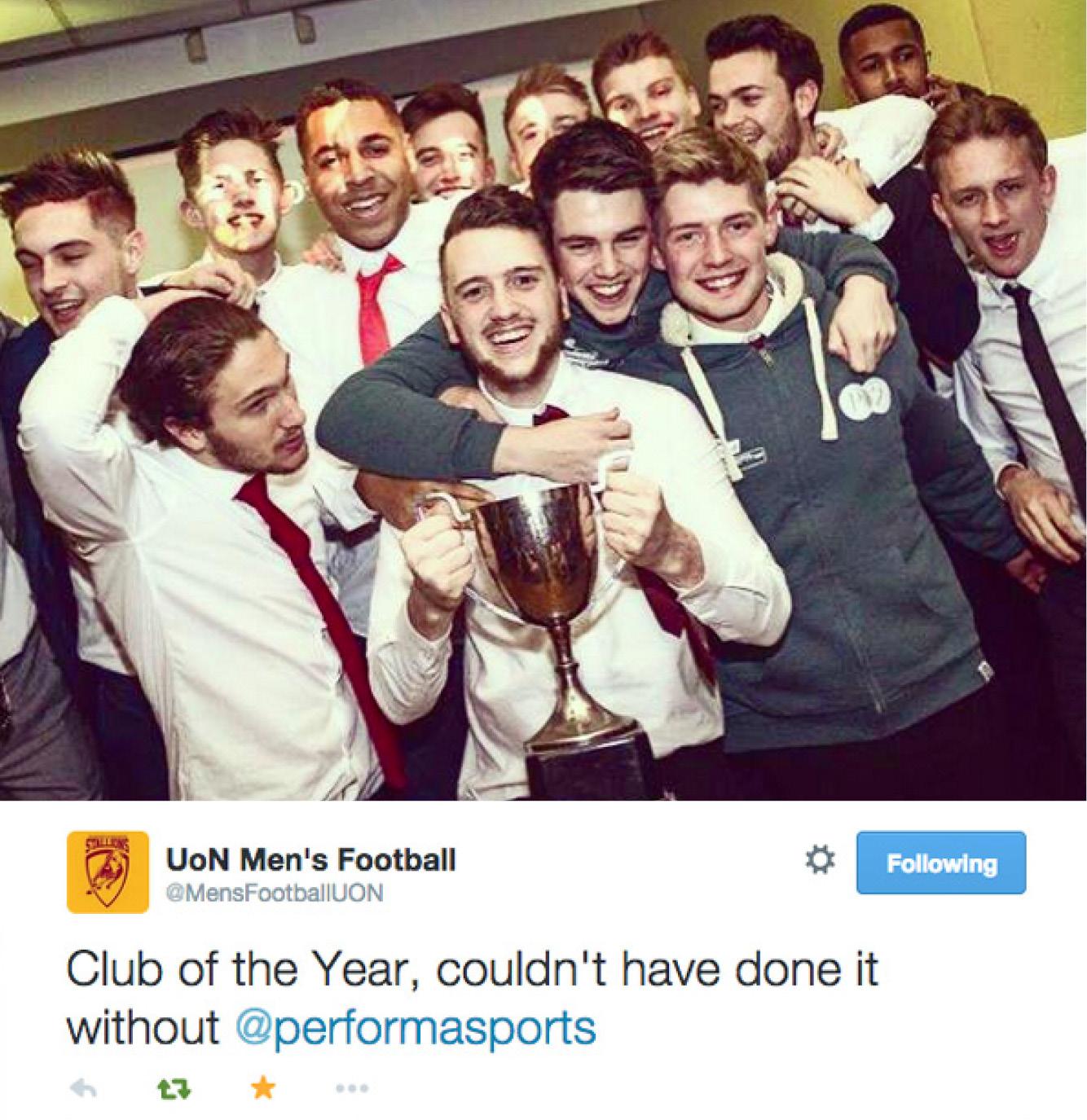 University of Northampton Football Team club of the year 2015