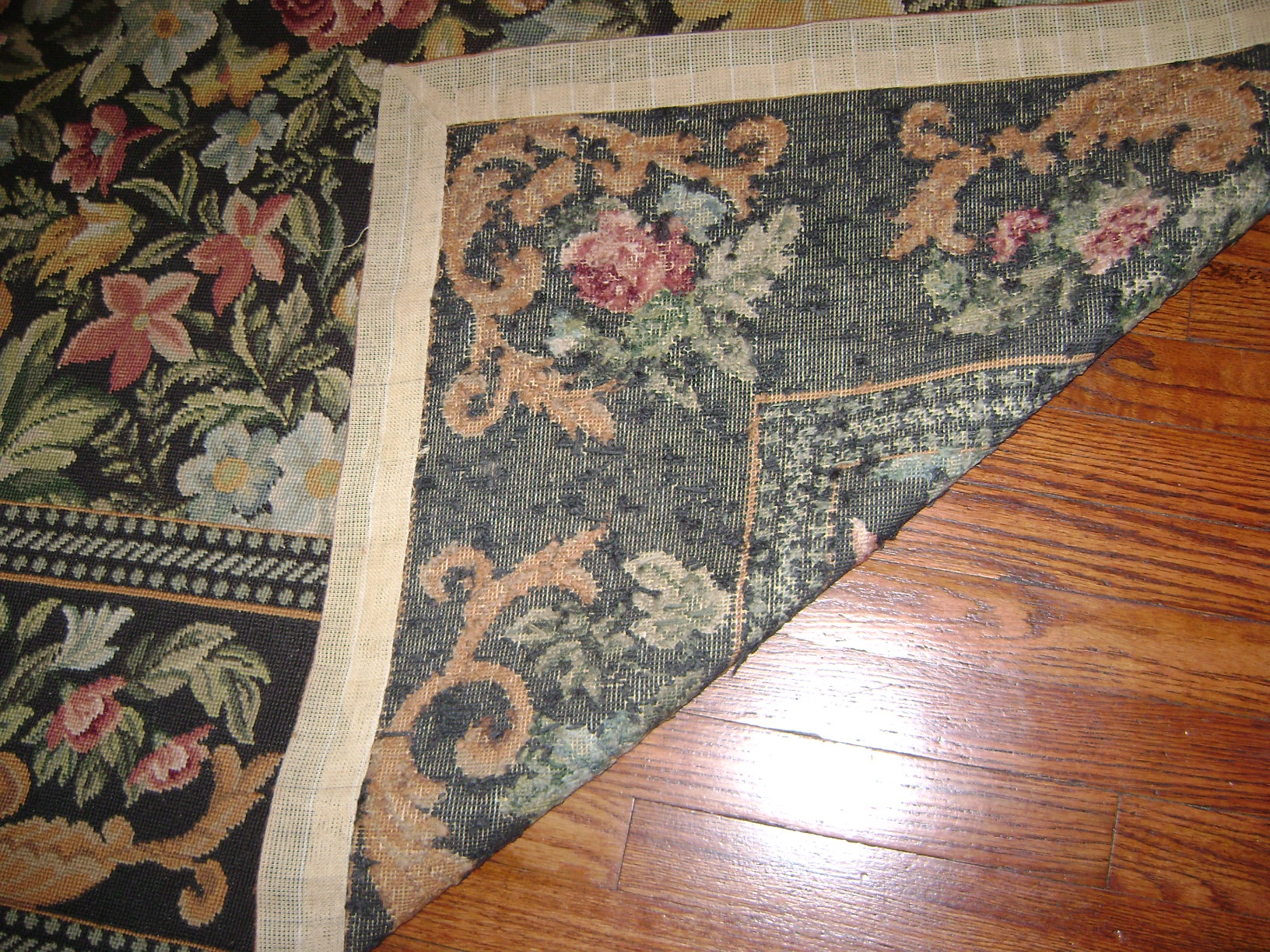 I Purchased A Beautiful Handmade Floral Needlepoint Rug 8x10