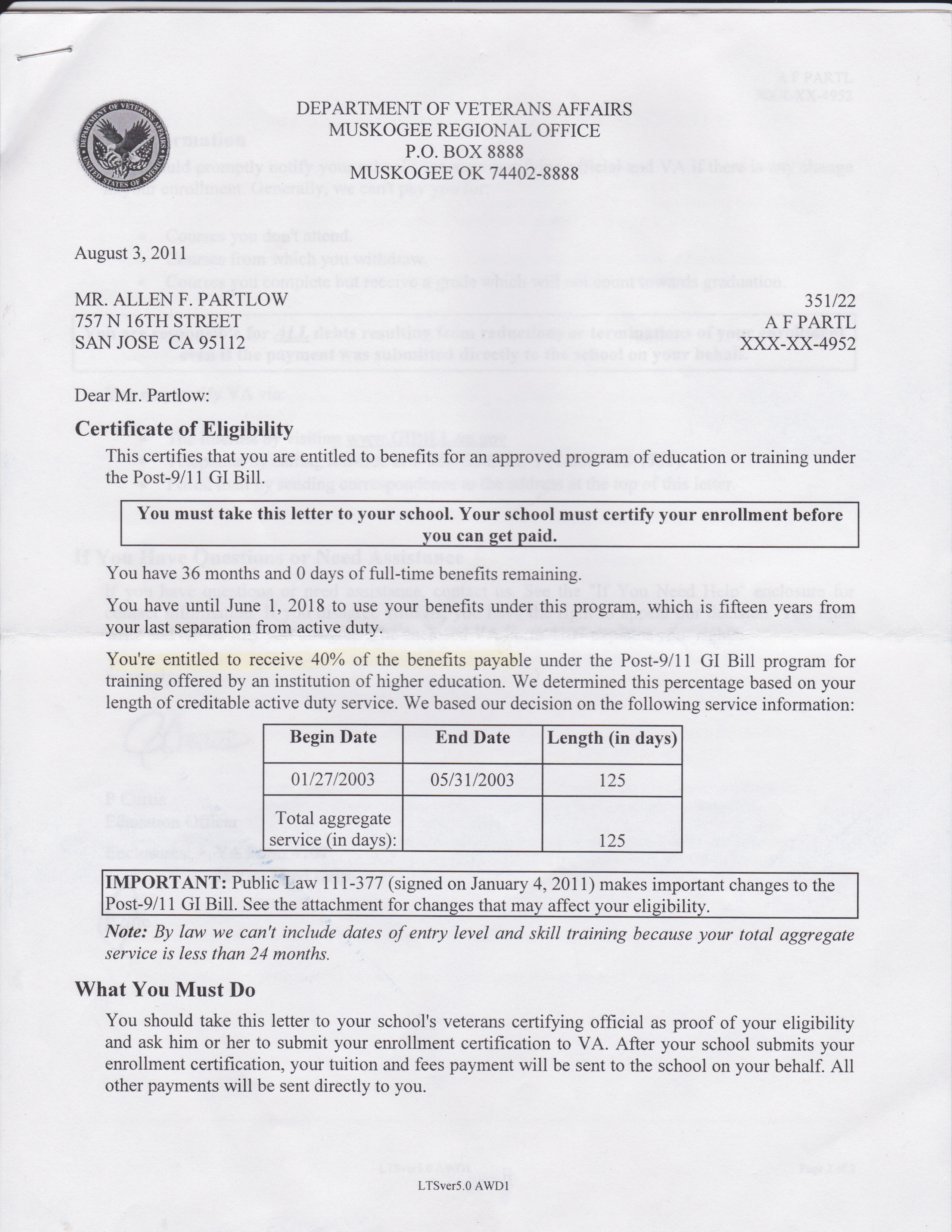 Post 9 11 Gi Bill Certificate Of Eligibility Choice Image