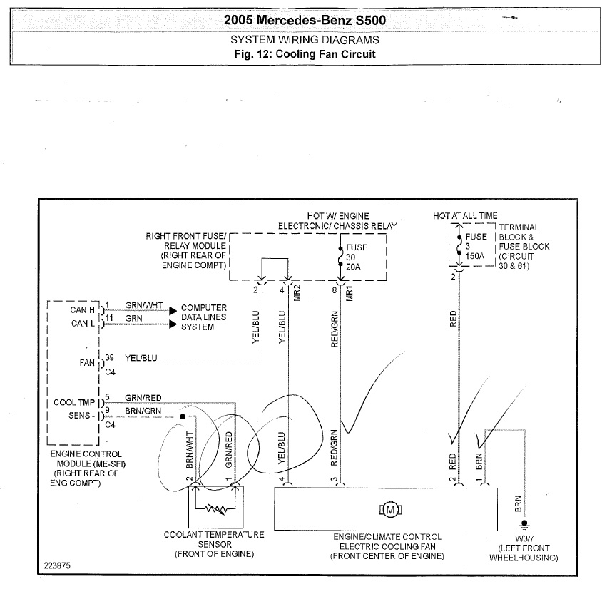 mercedes cooling fan wiring diagram find a cooling fan circuit diagram for 2005 mercedes benz