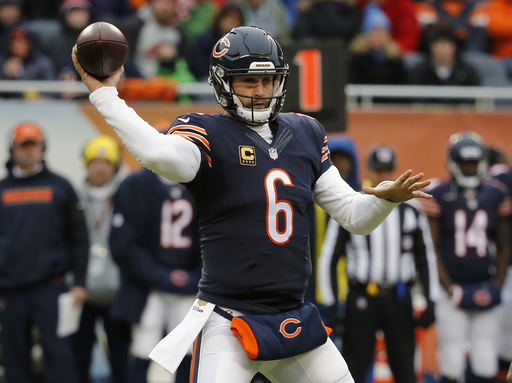 Chicago Bears quarterback Jay Cutler (6) throws a pass during the first half  of an NFL football game against the Detroit Lions cfca34742