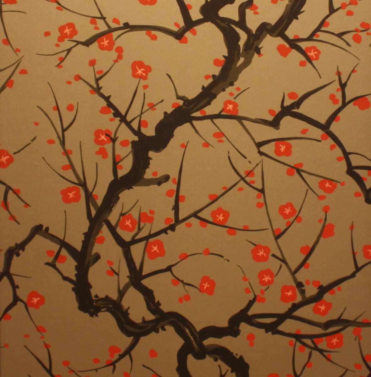 Flowering Quince Red / Black On Pewter