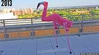 Amputee Josh Sundquist dressed as a flamingo with the head on his one leg, using crutches he puts himself upside down to reveal the flamingo's head