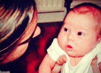 Caroline with Seb when he was a small baby