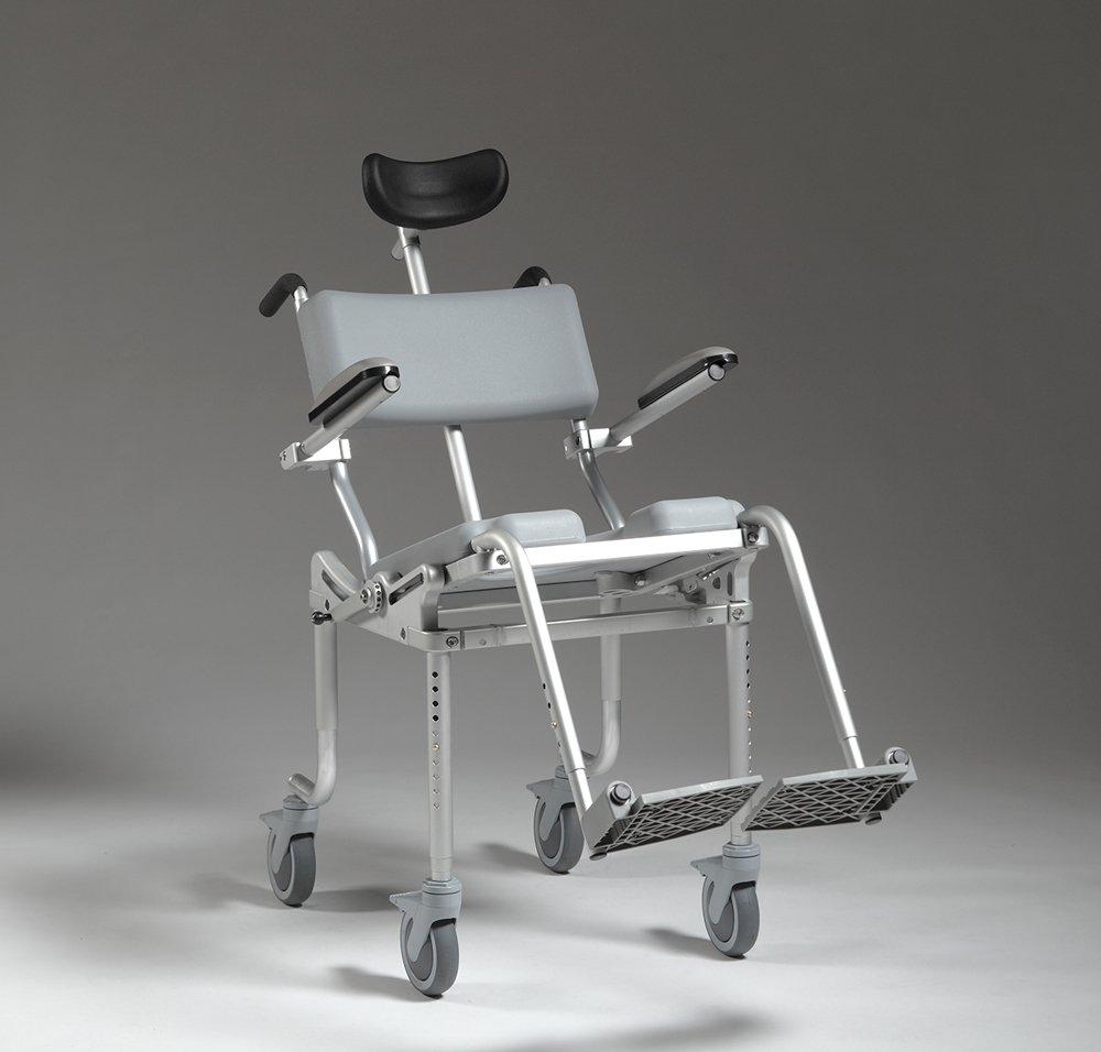The MULTICHAIR 4000Tilt shower/ commode chair has up to 45 degress of tilt.