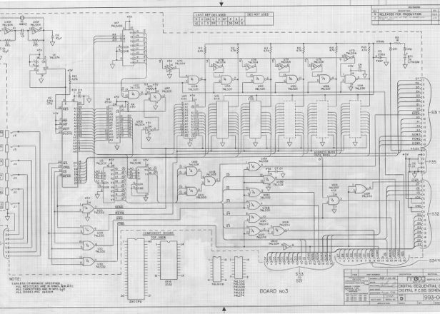 Vintage analog circuitry revealed by Bob Moog's intricate hand-drawn synth schematics