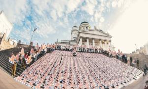 1,000 Nicki Minaj cutouts planted outside Helsinki Cathedral