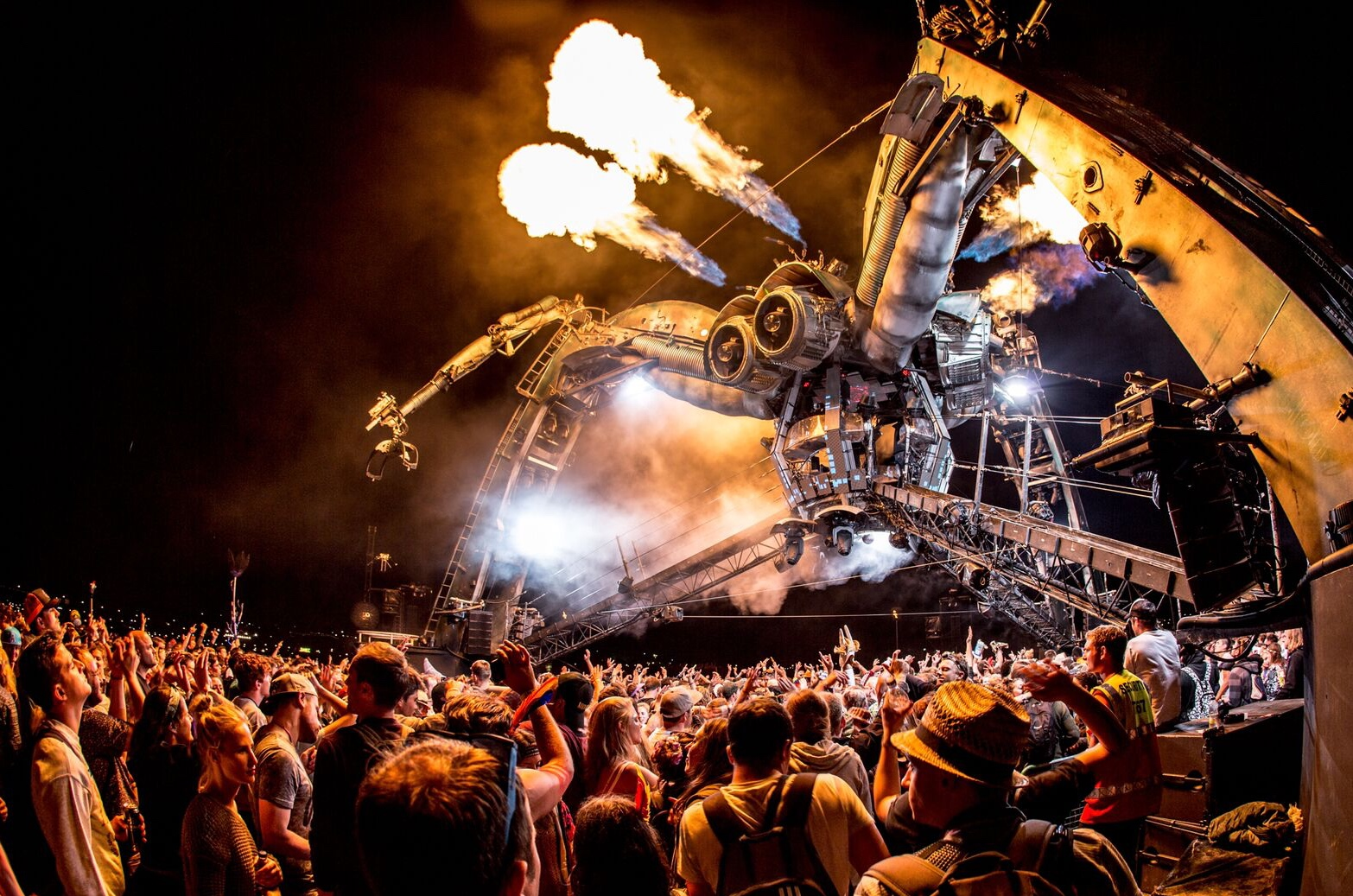 meet the pyrotechnics crew behind glastonbury s fire spitting spiders