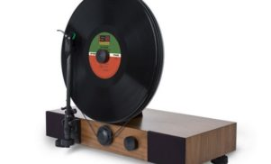 The Floating Turntable plays records vertically