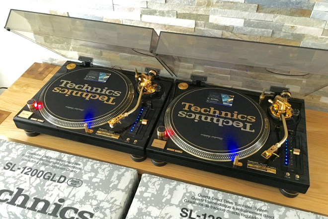 A rare set of gold Technics SL-1200 turntables is up for