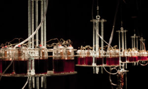 This terrifying synth installation is powered by human blood