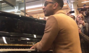 John Legend plays surprise gig at London's St Pancras station