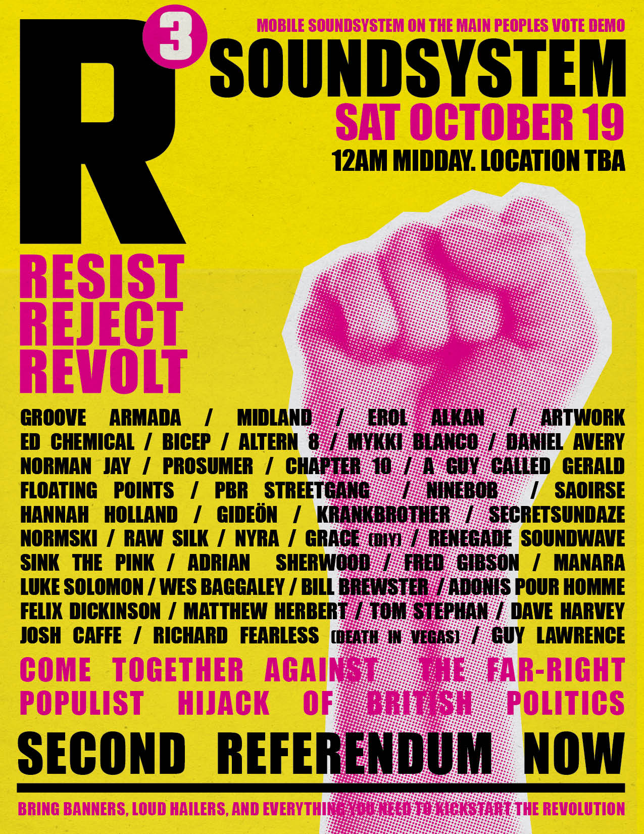 Altern 8, Saoirse and Midland to play at R3 Soundsystem for protest rave
