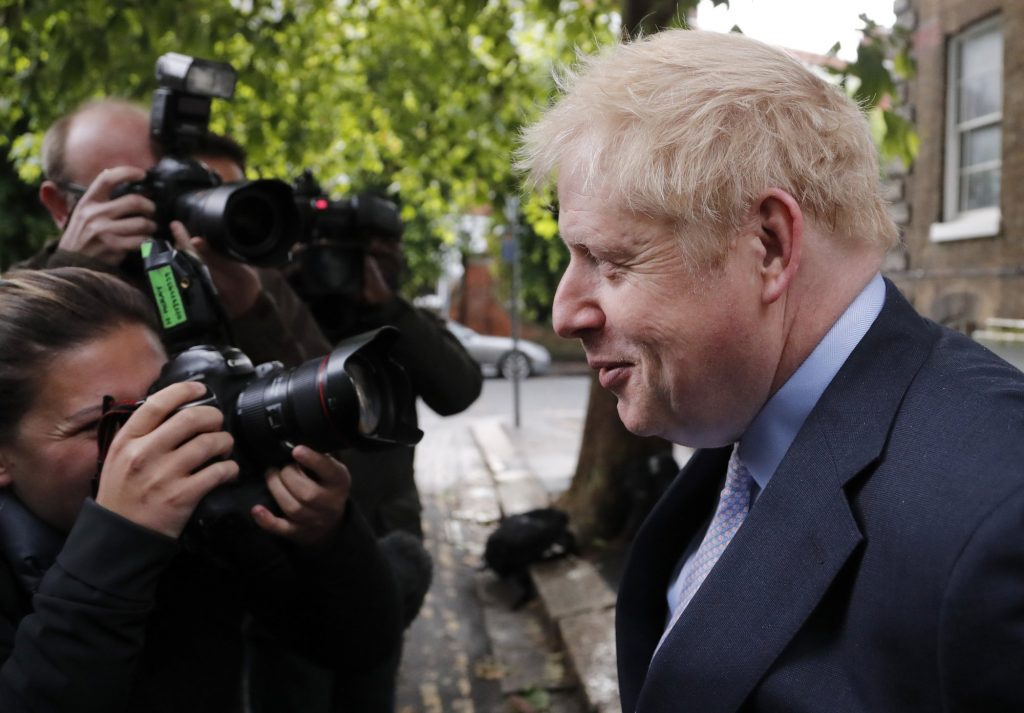 British Conservative Party lawmaker Boris Johnson leaves his home in London, Tuesday, June 11, 2019. Britain's Conservative Party is holding an election to replace Prime Minister Theresa May, who resigned last week after failing to lead Britain out of the European Union on schedule. Former Foreign Minister Boris Johnson is currently the bookies favorite to replace May. (AP Photo/Frank Augstein)