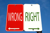 Right and Wrong street signs